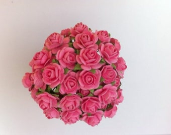 50 Pink Mulberry Paper Roses 10mm (1cm)