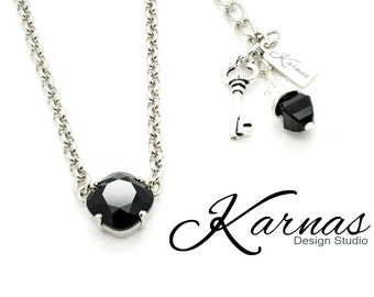 JET BLACK 12mm Crystal Cushion Cut Single Stone Necklace Made With Swarovski Elements *Pick Your Metal *Karnas Design Studio *Free Shipping*