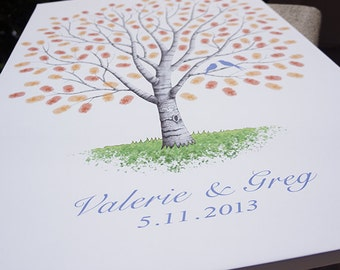 Wedding Tree Custom Guest Book Gift Hand drawn Wedding Guestbook Thumbprint Tree Guest book alternative sketched wedding tree - #K