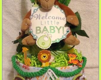Welcome Baby Safari Diaper Cake