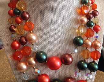 Vintage beaded acrlyic bead necklace choker collar 3-strand orange, green, peach,brown and gold
