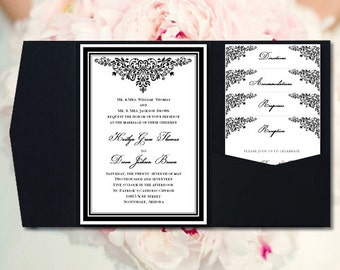 DIY Pocketfold Wedding Invitations Anna Maria Black White Printable Templates Instant Download Order