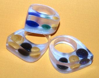 Modern Resin Rings, Candy Rings, Blue Ring, Green Ring, Yellow Ring, Black Ring, Gumdrop Rings, Spring Jewelry Trends, ResinHeavenUSA