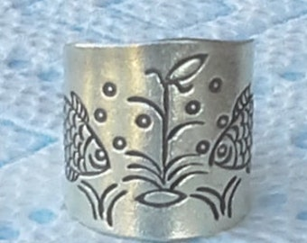 Large handmade silver women ring band with fishes design