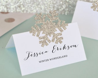 Snowflake Place Cards - Snowflake Gift Tags - DIY Winter Wonderland Wedding Place Cards - Snowflake Decorations  (EB3066) - 24 stickers