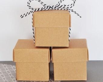 Kraft Favor Box - Wedding Kraft Box Favors - Kraft Box - Mini Small Kraft Box - Kraft Box Kraft Candy Box KRAFT COLOR 2  (EB1025) set of 24