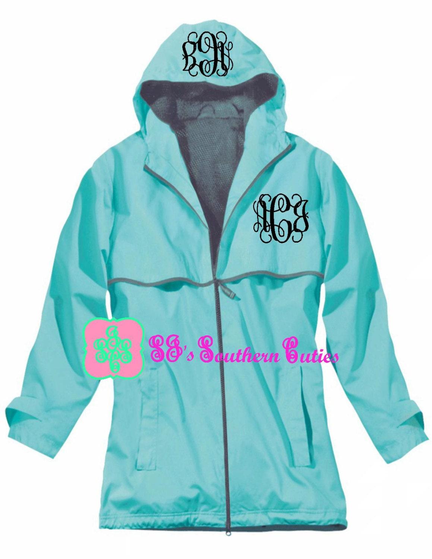 Monogrammed aqua rain jacket by sjssoutherncuties