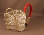 50s 60s Stacking glass Ashtrays Set with golden aluminum Holder Classic design 1950s 1960s Modernist Mid Century