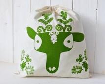 Organic Cotton Gift Bag Bread Bag Screen printed Hungarian Skandinavian Kalotaszeg Boy Deer Folk Pattern - Green
