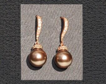 Brown Wedding Pearls 338ERG. CHOCOLATE BROWN Pearls / Rose Gold Bridal Earrings. Cz & Chocolate Brown Pearl Earrings. Bridesmaid Earrings