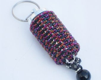 Transparent Ruby Red AB and Black Keychain pill holder (Free Shipping)