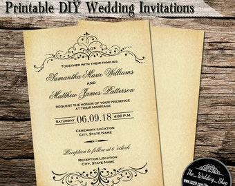"5"" x 7"" Vintage Ornate Swirl Custom Printable DIY Wedding Invitations"