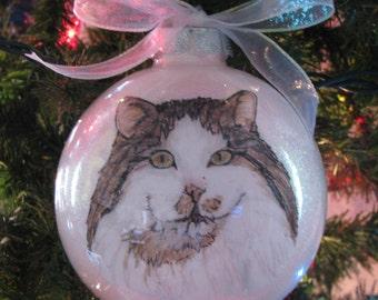 Custom Pet, Cat, Dog Portrait Ornament. Memorial, Keepsake