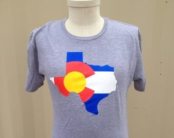 Texas Colorado Flag T-shirt - HEATHER GREY