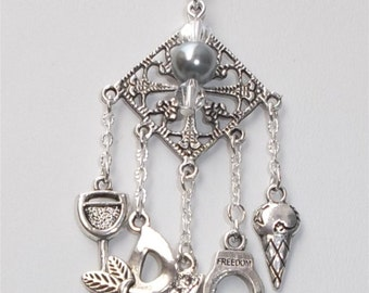 50 shades inspired tribute 5 Charm Silver charm Necklace