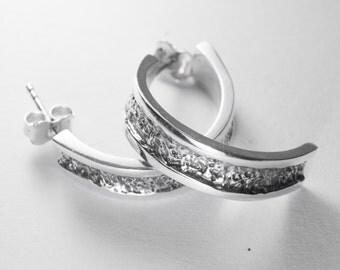 Earrings, half-moon, sterling silver