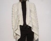 Creme Knit Cardigan, Women Sweater, Hand Knitted Woman Sweater, White Sweater, Women Summer Sweater, Knit Sweater, Wedding Sweater, Bridal