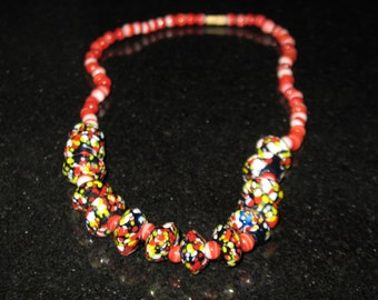 Milifiori Opaque Glass Bead Fire Polished Vintage Necklace 17.5 inches