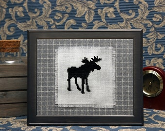 Moose cross stitch art