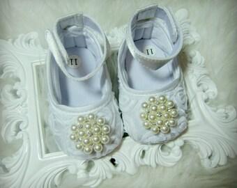 SALE!!! White Rosette Baby Girl Shoes