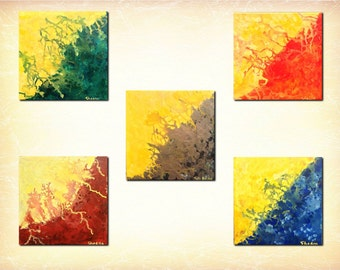 "Elements-Creation-Acrylic on Canvas 12""x12""-Set of 5,Abstract.Bright"