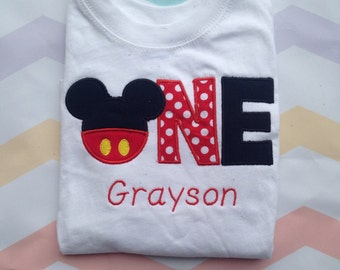 Red and black mickey mouse birthday outfit - 1st birthday shirt - custom birthday shirt