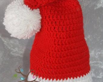 Crochet newborn santa hat with pom pom