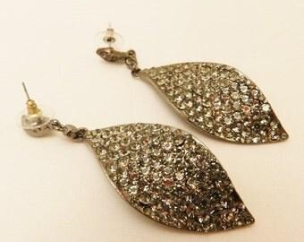 Rhinestone  Leaf Dangle Earrings
