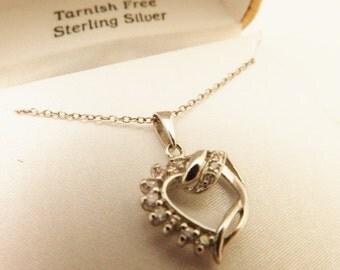 925 Sterling Silver Vintage Pink CZ  Heart Necklace, Valentines Jewelry, Danecraft