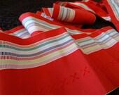 Vintage Japanese Silk Kimono Fabric, Hakata Datejime, Red Kimono Silk, Striped Kimono Silk, Multi Color Kimono Silk