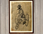 Quirky gifts Dog on a bike poster Animal print Antique home decor WA262