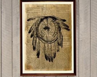 Tribal print Native American decor Vintage poster WA305