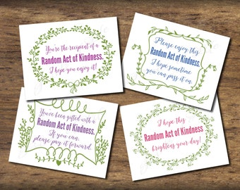 Random Act of Kindness cards. Instant download. Pdf printable. DIY digital print. Pay it forward. Small acts. Gifts for neighbors. Floral.
