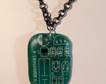 Circuit Board and Resin Pendant Necklace Handmade 016