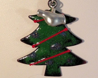 Torch Fired Enamel Christmas Tree with Silver Bird Necklace  044