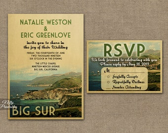 Big Sur Wedding Invitation - Printable Vintage Big Sur California Wedding Invites - Retro Wedding Suite or Solo VTW