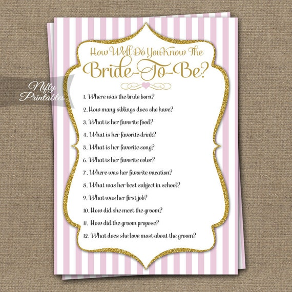 How Well Do You Know The Bride - Bridal Shower Trivia Game - Pink & Gold Glitter - Instant Download - Printable Pink White Bride To Be - PGL