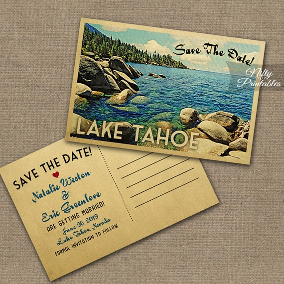 Lake Tahoe Save The Date Postcards Vintage Destination