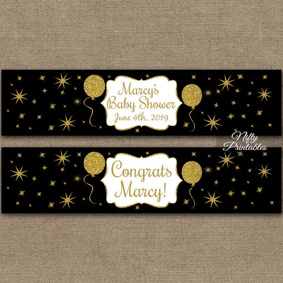 Black Water Bottle Labels Gold Glitter Balloons Party