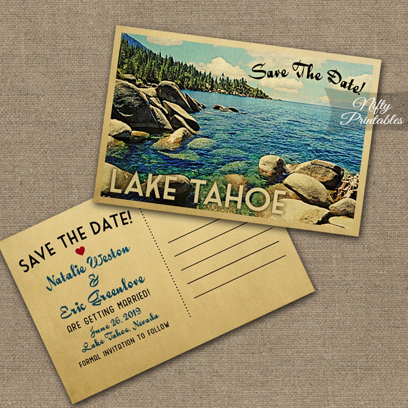 Mid Century Romance Save The Date Cards: Lake Tahoe Save The Date Postcards Vintage Destination