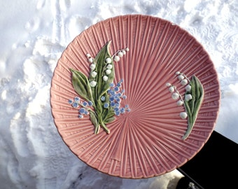 Vintage Majolica Plate Large Schramberg 1920s Lily of the Valley, Hand Painted Antique German Majolika, Pink Fruit Plate Art Nouveau Germany