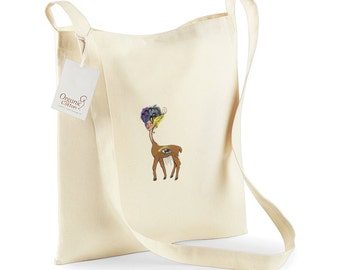 Organic Cotton Sling Tote Bag Embroidered with a 'Mythical Chimera' logo