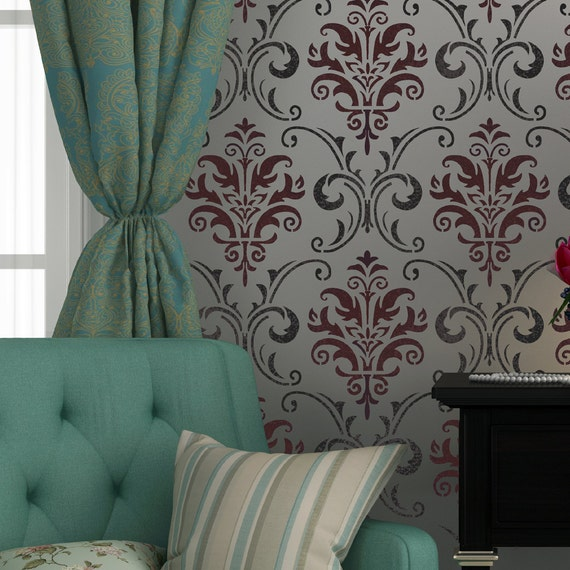 Wall Stencil Pattern Damask Allover Reusable Carol For Wall