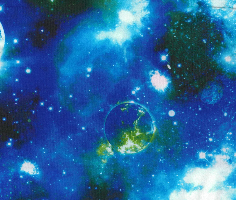 Stretch fabric blue galaxy print fabric four way stretch for Galaxy material fabric