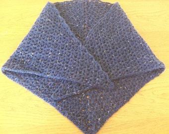 Navy blue wool hand-made crochet shawl
