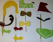 Christmas Photo Booth Prop Mr Grinch signs 12 pieces (2109D)