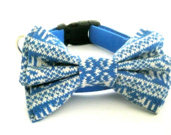 Winter dog collar Blue dog collar with Nordic star bow tie  Four different sizes bow tie Dog bow tie collar Pet collar