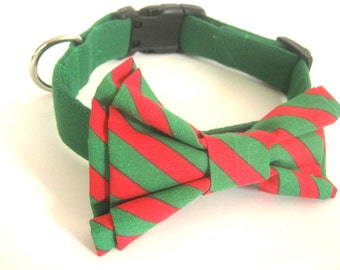 Green dog collar Green collar with red and green bow tie Dog bow tie collar Pet collar