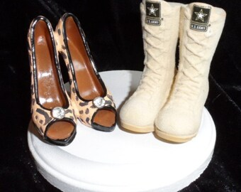 Army, Navy, Air Force, Marines Military Boot and high heel wedding cake topper.  Perfect for the patriotic groom and his high-class bride!
