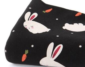 Slightly Brushed Rib Knit Fabric Bunny Black